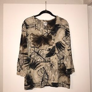 Chico's Leaf Print Long Sleeve Blouse Size 3